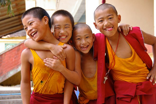 Image of four young Tibetan monks