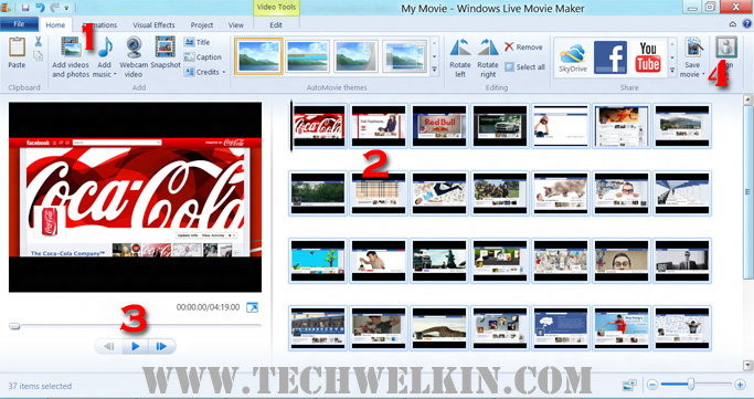 Ekran programu Windows Movie Maker