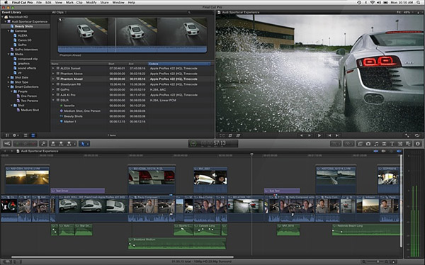 Final Cut Pro Interfejs.